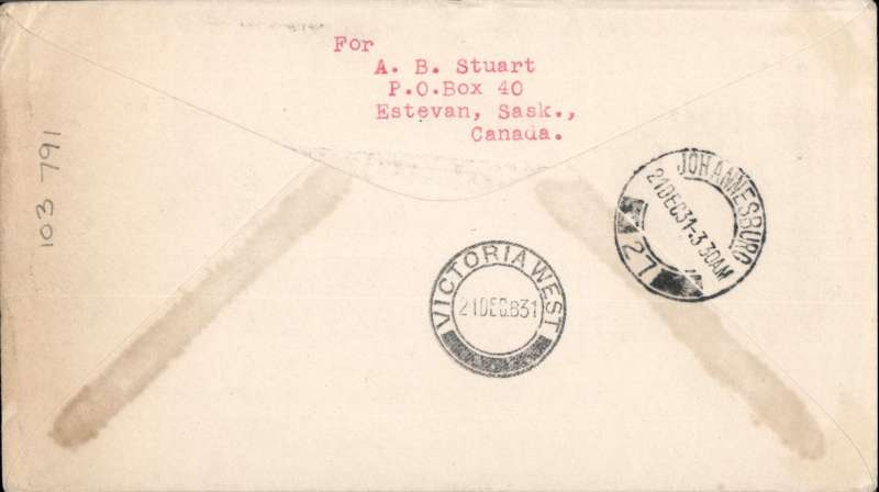 """(GB External) Imperial Airways, London to Victoria West, bs 21/12, carried on First Christmas Flight, via Jo'burg 21/12, scarce Roessler green """"London to Cape/Air Mail/First Flight"""" envelope, ref ROE.FF5, illustrated p91 Newton. Image."""