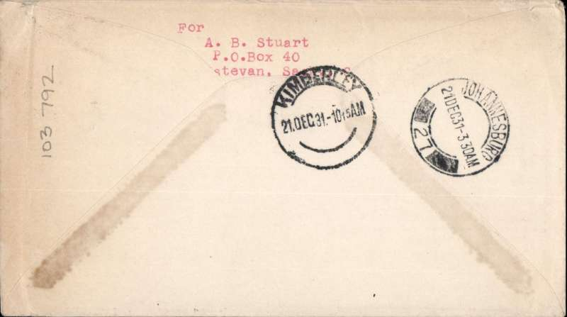 "(GB External) Imperial Airways, London to Kimberley, bs 21/12, via Jo'burg 21/12, carried on First Christmas Flight, scarce Roessler green ""London to Cape/Air Mail/First Flight"" envelope, ref ROE.FF5, illustrated p91 Newton. Image."