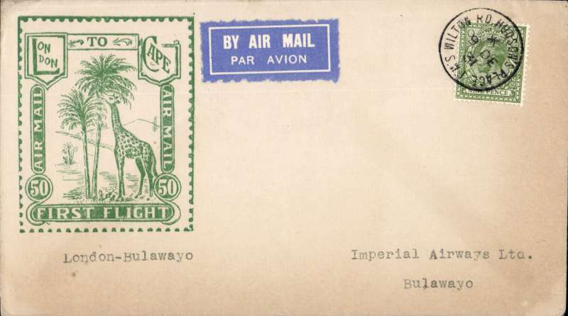 """(GB External) Imperial Airways, London to Bulawayo, bs 20/12, carried on First Christmas Flight, scarce Roessler green """"London to Cape/Air Mail/First Flight"""" envelope, ref ROE.FF5, illustrated p91 Newton. Image."""