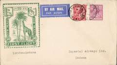 "(GB External) Imperial Airways, London to Dodoma, bs 18/12, carried on First Christmas Flight, scarce Roessler green ""London to Cape/Air Mail/First Flight"" envelope, ref ROE.FF5, illustrated p91 Newton. Image."