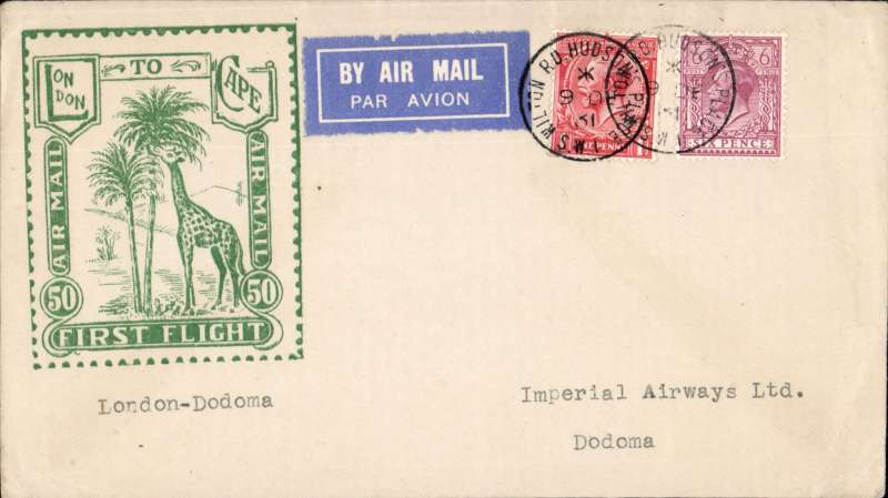 """(GB External) Imperial Airways, London to Dodoma, bs 18/12, carried on First Christmas Flight, scarce Roessler green """"London to Cape/Air Mail/First Flight"""" envelope, ref ROE.FF5, illustrated p91 Newton. Image."""