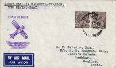 """(India) Flying Boat """" Coogee"""" Survey Flight from England to Singapore via the new route from Karachi to Calcutta,  Calcutta to Gwalior, bs 4/3, via Lashkar 3/3, airmail etiquette cover franked 2 annas, purple 'airplane' cachet ."""" Trial flight of Imperial Airways flying boat from Southampton to Singapore prior to the inauguration of the regular and 'All Up' services. Very fine. Image."""