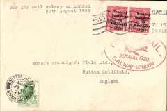(Ireland) Experimental flight Galway to London, 27/8 arrival ds on front, plain cover franked 2d, magenta oval flight cachet, typed 'Per Air Mail Galway to London/26th August 1929'. Francis Field authentication hs verso. Image.