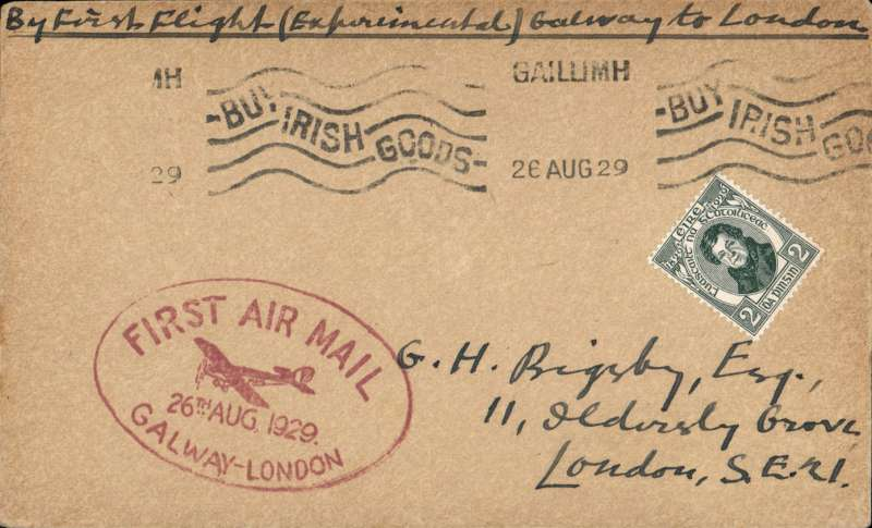 (Ireland) Experimental flight Galway to London, plain cover franked 2d, nice strike magenta oval flight cachet, ms 'By First Flight (Experimental) Galway to London'. Image.