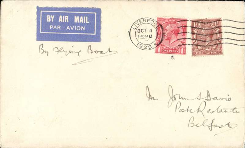 "(GB External) Imperial Airways experimental airmail, intended last flight Liverpool to Belfast by flying boat, bs 5/10, airmail etiquette cover franked 2 1/2d, ms ""By Flying Boat"". It was posted in Liverpool in time for the flight to Belfast but, due to thick fog.it was carried by surface.