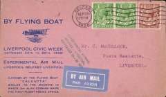 (Ireland) Imperial Airways Liverpool-Belfast Air Mail Experiments, printed souvenir cover in pink advertising Liverpool Civic Week, flown from Belfast to Liverpool, bs 29/9, franked 2 1/2d, green three line cachet. Mail carried in the 'Calcutta' flying boat. Image.