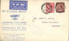(GB External) Imperial Airways Liverpool-Belfast Air Mail Experiments, printed souvenir cover in pale blue advertising Liverpool Civic Week, violet four line cachet, flown from Liverpool to Belfast, bs 24/9, franked 2 1/2d.  Mail carried in the 'Calcutta' flying boat. Image.