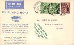 (GB External) Imperial Airways Liverpool-Belfast Air Mail Experiments, printed souvenir cover in pale blue advertising Liverpool Civic Week, green four line cachet, flown from Liverpool to Belfast, bs 29/9, franked 2 1/2d.  Mail carried in the 'Calcutta' flying boat. Image.