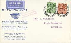 (Ireland) Imperial Airways Liverpool-Belfast Air Mail Experiments, printed souvenir cover in pale blue advertising Liverpool Civic Week, franked 2 1/2d, red three line cachet, flown from Belfast to Liverpool, bs 25/9, Mail carried in the 'Calcutta' flying boat. Image.