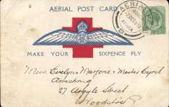 "(South Africa) First fight Red Cross Aerial Post, large 3 1/2"" wings first Cape flight  ""Make Your Sixpence Fly"" souvenir PC, franked KGV 1/2d canc special 'Aerial Post' datestamp ""AERIAL POST/7 Oct 18/SOUTH / AFRICA"" cds. The stamp has a scuffed lower lh corner, and the top lh corner of the card has a minor bend. See image."