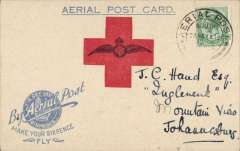 "(South Africa) 1918 Make Your Sixpence Fly, Germiston flight card, addressed to Johannesburg, franked ½d. special canc ""Aerial Post/24 Nov 18"", fine, see Image."