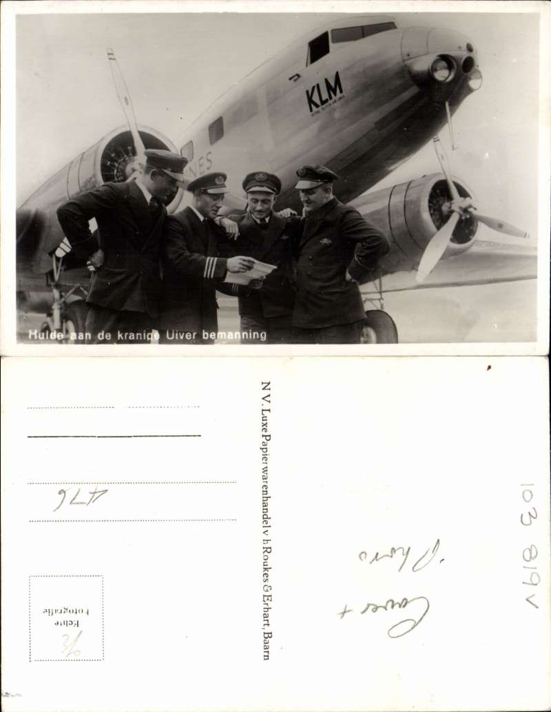 "(Netherlands) MacRobertson Air Race, Holland to Australia, bs Sydney 26/10, also oval double ring KLM commemorative arrival cachet verso ""Royal Dutch Airways/KLM Liner 'Uiver' arrived at Melbourne 10.54am, Wednesday 24/10/34"", franked 82 1/2c + special triangular stamp, canc Gravenhage 17/10, oval red race cachet, KLM printed souvenir race cover, flown by Parmentier and Moll. Also B&W photocard showing plane and pilots. Image."