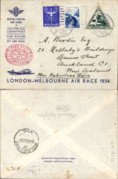 (Netherlands ) MacRobertson Air Race, Holland to New Zealand, via Melbourne 24/10, franked 82 1/2c + special triangular stamp, canc Gravenhage 17/10, oval red race cachet, KLM printed souvenir race cover, flown by Parmentier and Moll. Also B&W photocard showing plane and pilots. Image.