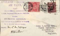 "(GB External) Mac Robertson Race, London to Melbourne, franked gb 1 1/2d canc Mildenhall/18 Oct cds, confirmatory Melbourne arrival mark cds on front tying Australia GV 2d, violet eight line ""England-Ausralia/Air Races......"" flight cachet, carried by McGregor and Walker in Miles Hawk Major, ZK-ADJ, signed by both pilots."