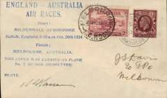 "(GB External) Mac Robertson Race, London to Melbourne, confirmatory Melbourne arrival cds on front on Australia SG 150, also Melbourne 5/11 cds verso, blue eight line ""England-Ausralia/Air Races......"" flight cachet, carried by Hansen and Jensen in Desoutter NK11, signed M Hansen."