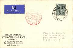(GB External) In preparation for the MacRobertson Air Race Mildenhall aerodrome was handed over to the Royal Aero Club on 18/10/34. Facilities included a PO with a special handstamp open from 13th-20th Oct . A souvenir Air Race cover franked 4d, canc special Mildenhall hs, flown to Berlin bs 21/10, with fine strike of red Berlin C2 receiver on front. Unusual.