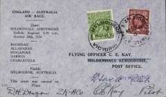 "(GB External) MacRobertson Air Race, England-Australia, Mildenhall  depart cds, Melbourne arrival  9/11 cds tying Australia 1d stamp on front, 8/11 Melbourne 'clock' receiver verso, official black/grey printed cover carried by Hewitt, Kay and Stewart in Dragon Rapide ""Tanui"", signed by CE Kay and Hewitt. Covers with Hewitt's signature as well are uncommon.."