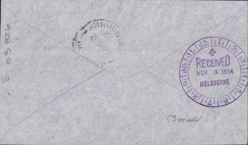 "(GB External) MacRobertson Air Race, England-Australia, Mildenhall  depart cds, Melbourne arrival  9/11 cds tying Australia 1d stamp on front, 8/11 Melbourne 'clock' receiver verso, official black/grey printed cover carried by Hewitt, Kay and Stewart in Dragon Rapide ""Tanui"", signed by CE Kay."