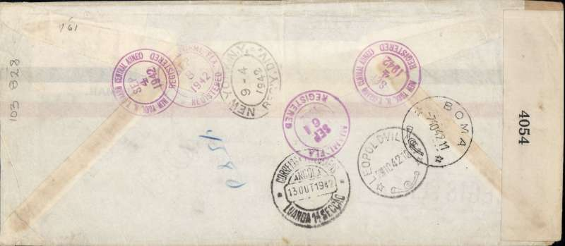 (United States) WWII censored registered airmail, New York to Luanda, Angola, bs 13/10, via Miami 6/9, Leopoldville 2/10, and Boma 7/10, cover 22x10cm metre franked $1.35, typed 'Via Clipper', sealed B&W EB 4054 (Miami) censor tape. Uncommon destination, superb routing.
