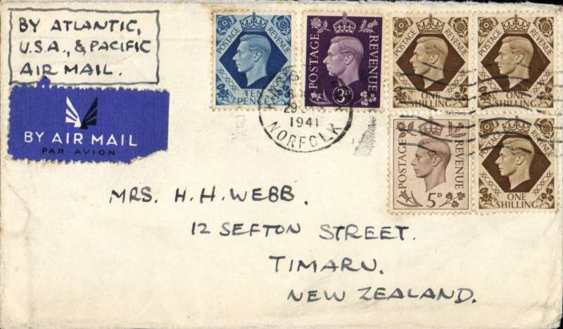 (GB External) England to New Zealand, WWII uncensored airmail flown 'all air' across the Atlantic, the US mainland, and the Pacific, airmail etiquette cover correctly rated 4/6d canc Kings Lynn cds. The Pacific Clipper service opened on 3/7/40 when Italy entered the war and ceased after the Japanese attack on Pearl Harbour on 11/12/41. Image.