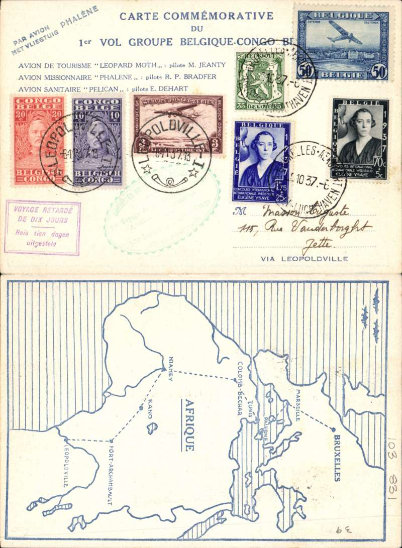(Belgium) First group flight from Belgium to the Congo, Brussels to Leopoldville, and return, 6/11 arrival ds, blue/cream souvenir cover in Flemish with map of route verso, franked 3F30 Belgian stamps and 3F30 Congo stamps, green oval toothed flight cachet, also boxed violet 'Voyage Retarde/De Dix Jours/Reis tien dagen/uitgstteld' hs, Carried by the 'Phalene'. FLEMISH CARDS ARE MUCH SCARCER..