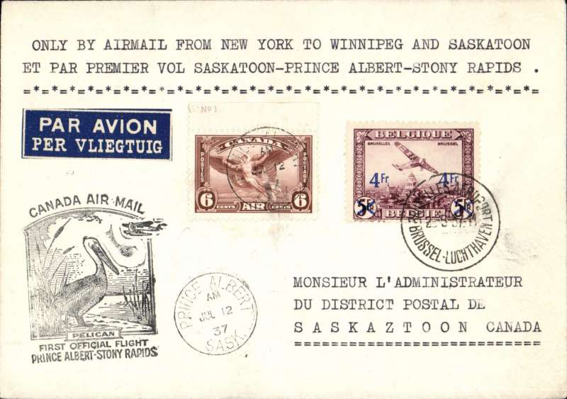 """(Belgium) Belgian acceptance for Canada first flight 'Prince Albert  12/7/37 on front to Stony Rapids 13/7 arrival cds verso, Nawratil cover franked 4.6F canc Brussels Airport cds, black F/F cachet, typed """"Only by airmail from New York to Winnipeg and Saskatoon, and by first flight Saskatoon-Prince Albert-Stony Rapids'. Lovely and unusual item in fine condition. Image,"""