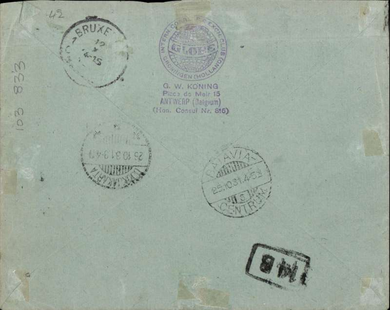 (Belgium) Belgian acceptance for Djakarta, bs 26/10, via Batavia 25/10, Koning cover franked 10F canc Antwerp cds, uncommon. Image.