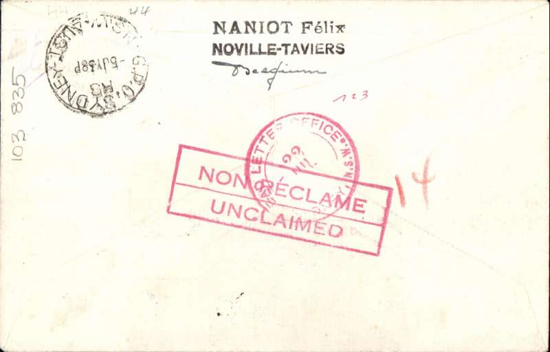 (Belgium) Belgium acceptance first KLM/KNILM regular weekly service operated by a foreign company, Eghezee to Sydney, bs 5/7, registered (label) cover franked 9F, large violet Amsterdam-Batavia-Sydney F/F . Red 'Unclaimed' hs verso overlaid by red circular 'Dear Letter' hs.cachet. See Godinas A331. Image.