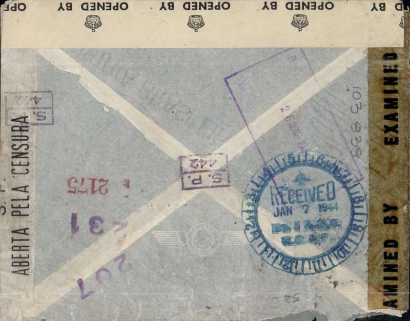 (Brazil) Triple censored WWII airmail cover, rated R 5400, from Sao Paulo to the River Plate Committee, Finsbury Circus, London (an undercover address for South American volunteers to British Forces), readdressed to No 8 A.O.S.(Air Observer School), Ancienne Lorette, Quebec, large Jan 7 1944 clock receiver verso. Triple sealed with Brazilian tape tied by framed S.P./442 censor mark, and US EB 2853 (San Juan), and GB OBE 562 PC90 censor tapes. Sent to a Britisher from Brazil, now a leading aircraftman/woman in training in Canada. An absolute goldmine of aerophilatelic, military, political and social history. One of the most exciting covers we have come across.