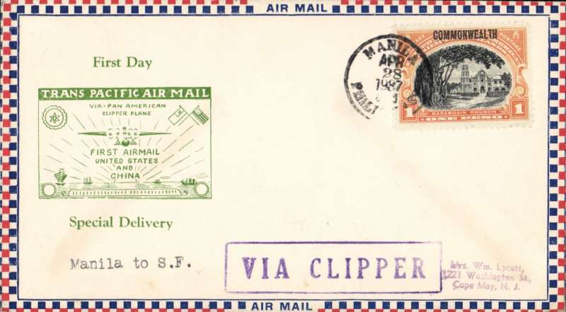 (Philippines) F/F FAM 14, Manila to San Francisco, blue boxed 'Via Clipper' hs, uncommon Roessler 'small check' souvenir cover with most attractive green boxed 'Trans Pacific Air Mail' imprinted cachet.