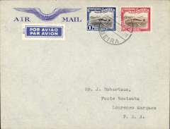 (Mozambique) First southbound flying boat service from Portuguese East Africa, Beira to Lourenco Marques, bs 12/6, Imperial Airways winged logo company cover addressed to J.Robertson, franked 1E60c. authentication hs verso.
