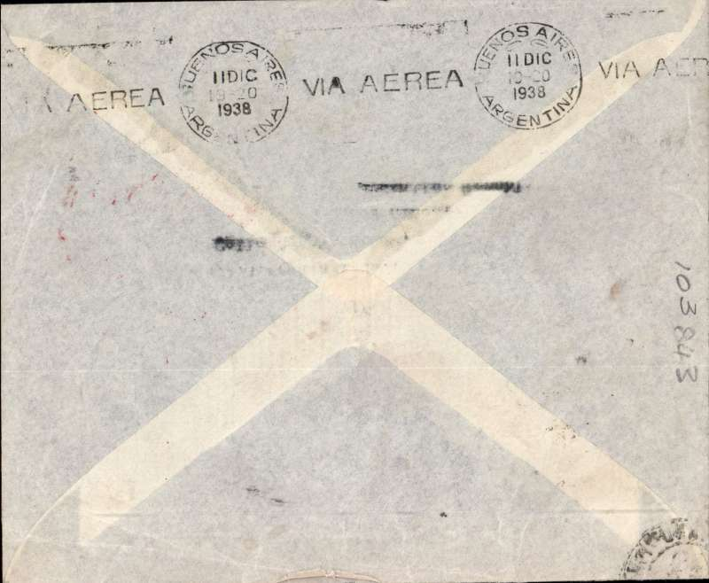 (GB External) London to Buenos Aires, bs 11/12, 'Leyland' airmail corner cover, correctly rated 4/- with mixed franking KGV 9d x5 + KGVI 3d, red circular German 'Europa-Sud Amerika' flight cachet on front.