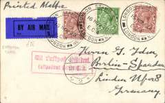(GB External) London to Berlin, 17/11 arrival ds on front, London Stamp Exhibition souvenir card, franked 3 1/2, canc special expo postmark tying dark blue/black airmail etiquette, nice strike red framed Berlin C2 airmail receiver.