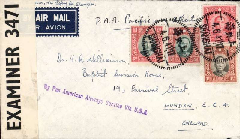 (China) WWII censored scarce double rate air cover , Shanghai to London, imprint etiquette cover franked $11.30, ms 'PAA Pacific and Atlantic', also fine strike violet 'By Pan American Airways Service Via USA' directional hand stamp, sealed B&W OBE 3471 Caribbean censor tape. Correctly rated $11.30 ($5.90 + $5.40)  for carriage by surface from China to Hong Kong, then by air to San Francisco by Pan Am FAM 14 route, by US internal air service to New York, by air via Pan Am FAM 18 route to Lisbon, then by European airline to destination (Route 'G', Boyle p774) . Nice item.