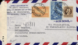 (World War II) World War II North Atlantic service, dual censored registered cover, Havana to Bohemia-Moravia, via Miami 16/9 and Lisbon, correctly rated 55c, sealed British censor 1608, also brown German censor tape tied by red censor mark. Non invasve top lh corner nibble, otherwise fine. See image.