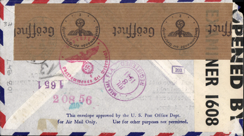 (Cuba) World War II North Atlantic service, dual censored registered cover, Havana to Bohemia-Moravia, via Miami 16/9 and Lisbon, correctly rated 55c, sealed British censor 1608, also brown German censor tape tied by red censor mark. Non invasve top lh corner nibble, otherwise fine. See image.