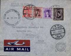 (Egypt) WWII censored 'all the way by air', Cairo to Ontario, Canada, District Director of Postal Services/London Ont/Jul 30 1941 circular arrival ds on front, red/blue imprint etiquette cover franked 117 ml, canc Cairo cds, typed 'written in English', black Egyptian censor mark. Correctly rated 117 mls for carriage by air from Cairo to Sydney via KLM or BOAC, by air via TEAL to Auckland, by air to USA via Pan Am FAM 19, and by internal air service to Ontario. Super item in fine condition.