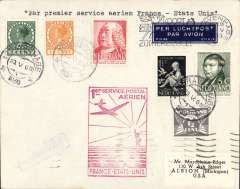 (Netherlands) Netherlands acceptance for Pan American F/F Marseille to New York, bs 27/5, Marseilles 25/5, red flight cachet, dark blue/white etiquette, plain cover. Small mail.