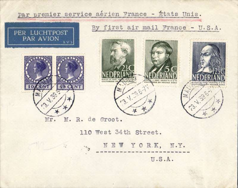 (Netherlands) Netherlands acceptance for Pan American F/F Marseille to New York, bs 27/5, Marseilles 24/5, red flight cachet, dark blue/white etiquette, plain cover franked 40c canc Maurik cds.