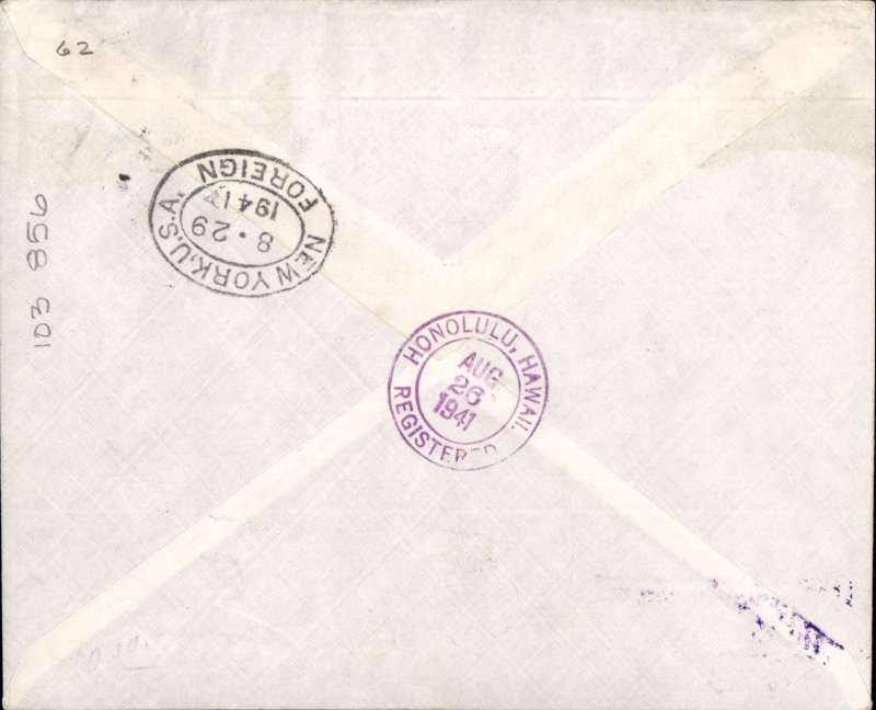 """(Netherlands East Indies)  WWII censored air all the way 'Two Ocean' airmail,  Batavia to London, via Honolulu 26/8 and New York 29/8, registered (label) imprint etiquette cover, franked 1G 15c, red 'Censureed/5' NEI censor mark on front. Flown KNLIM to Manila, Pan Am FAM 14 to San Francisco, US internal air to New York, Pan Am FAM 18 to Lisbon, BOAC/KLM to London. A well documented WWII item in fine example of KNILM/PAA """"two ocean"""" mail service via Manila; suspended after Pearl Harbour in Dec 1941, see Boyle p 820-828."""