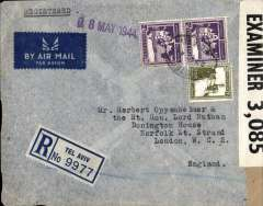 (Palestine) WWII censored  high franking trans Africa/ two ocean cover Tel Aviv to London, 18 May 1944 arrival hs on front, via Miami 25/4 and New York 27/4, registered (label) airmail cover, franked  420ml, canc Tel Aviv oval ds, ms 'Written in Yiddish', sealed B&W Palestine OBE  KK/38147 censor tape tied by violet framed Palestine censor mark. Carried .BOAC/Sabena to Lagos, Pan Am to Miami 25/4, censored en route at Bermuda where sealed PC90 OBE 3085 censor tape, US internal air service to New York 27/4, Pan Am FAM 18  to Lisbon, BOAC/KLM to London..A great WWII item with superb routing.