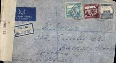 (Palestine) WWII censored Tel Aviv to Buenos Aires, BA Central PO 143 arrival hs, via Miami Aug 12 1944 transit cds, registered imprint etiquette airmail cover, franked 165ml, canc Tel Aviv oval ds, ms 'Written in Yiddish', sealed B&W Palestine OBE  KK/38147 censor tape tied by violet framed Palestine censor mark. Correctly rated for carriage by Ala Littoria from Cairo to Lisbon, Pan Am FAM 18 to New York, US internal air service to Miami, then by Pan Am to destination. Good routing.