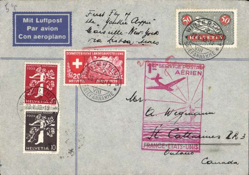 (Switzerland) Switzerland acceptance for First Regular North Atlantic Service, Marseilles to New York, bs 27/5, viaMarseille-Gare 24/5, imprint 'Mit Luftpost' etiquette cover franked 100c, ms 'First Flight of /the Yankee Clipper/Marseilles-New York/via Lisbon', fine strike official red cachet, uncommon. Image.