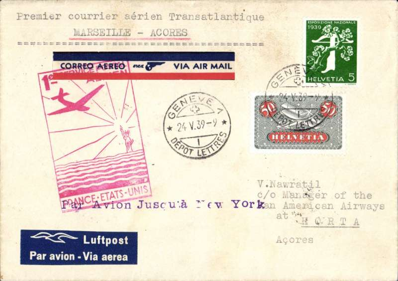 (Switzerland) Switzerland acceptance for First Regular North Atlantic Service, Marseilles to Horta, bs 29/5, via Marseille-Gare 24/5, imprint 'Luftpost' etiquette cover franked  55c canc Geneva cds, typed 'Premier courrier aerien Transatalntique.Marseiile-Acores', fine strike official red cachet on front, black Horta cachet verso, violet straight line 'Par Avion Jusqu'a New York', nice item. Image.
