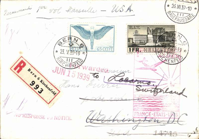 (Switzerland) Switzerland acceptance for First Regular North Atlantic Service, Bern-Marseilles-New York, bs 27/5, via Marseille 24/5, registered (label) cover franked  1F65 canc Bern cds, ms '1ier Vol Marseille-USA't, official red cachet on front.  Image.