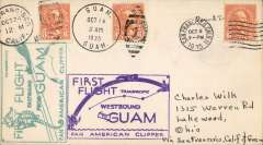 (United States) Pan American survey flight, San Francisco to Guam and return, fine strikes green East and violet West bound cachets, all appropriate departure and arrival postmarks, scarce round trip, fine. Image.