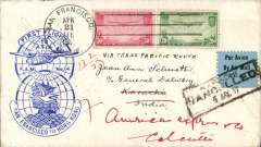 (United States) Acceptance for India for carriage on the FAM 14 F/F from US to Hong Kong, San Francisco to Karachi, framed 'Karachi/Cancelled/5 May 37' hs cancelling airmail etiquette, via Hong Kong 28/4, and reposted to Calcutta 11/5, plain cover franked new issue 50c & 20c, fine strike blue F/14 official cachet 'F/F to Asia' globe overlying 'San Francisco to Hong Kong' globe. HK became the gateway for Far East mail addressed to points beyond and was forwarded by air, as far as India, at no extra cost by airlines of China and by Imperial Airways, scarce. A great item for the exhibit. Image.