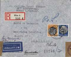 (Austria) WWII undercover airmail from Austria to Chile, Vienna to 'Casilla 2991, Santiago, bs 30/11, via New York 22/11, registered (label) franked 180pf canc Wien cds, airmail etiquette, sealed German censor tape tied by German censor mark. 'Casilla 2991' was the undercover address of HICEM the organisation established in 1927 to help European Jews emigrate to South America. Image.