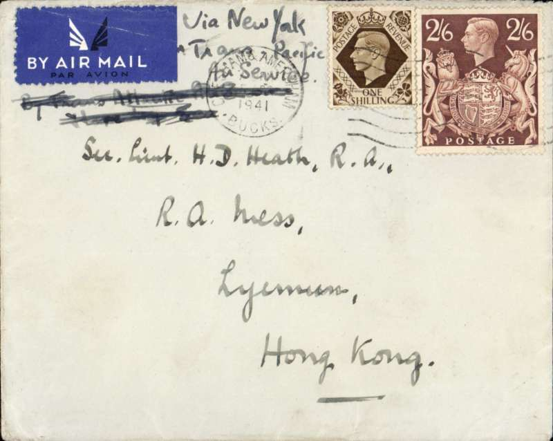 (GB External) World War II GB to Hong Kong, uncensored HMG Ministry of Pensions cover (embossed logo on flap), franked 1/- and 2/6d (sg 476), ms 'Via New York.via Trans and Pacific Air Services'. Correctly rated  3/6d for carriage on the new service opening on 21 May 1941 and  routed by sea to New York, then by air across the US and the Pacific to Hong Kong. Until then the only airmail alternative had been via the 5/- 'All Air' route. Correctly franked at the new service rate, this cover could have been carried on the first flight of this new service. It only operated for 6 months, and terminated on 7 Dec 1941 following the attack on Pearl Harbour. A nice item, full of history. Image.