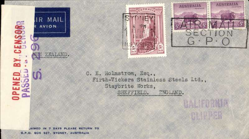 (Australia) Wartime airmail, Pacific Clipper services up to the attack on Pearl Harbour, the 'air all the way' trans Pacfic and trans Atlantic clipper service, Sydney to London, imprint etiquette airmail cover franked 5/- robes, 5d x2, canc Sydney 13/2/1941 cds, typed 'Via New Zealand', violet 'California/Clipper' hand stamp, sealed red/white Australian OBC censor tape tied by violet diamond 'Passed By/Censor/S 296' hs. Correctly rated 5/10d for the two ocean clipper service to the UK, carried by TEAL to New Zealand, Pan Am FAM19 to San Francisco, then US internal air service to link with Pan Am FAM18 trans Atlantic service to Lisbon, then BOAC/KLM to London. This service opened on 3/7/40 when Italy entered the war on June 10th, 1940 and the closed Mediterranean section of the long established Empire (Kangaroo) route through Europe and across the Indian Ocean. The Pacific Clipper service ceased after the Japanese attack on Pearl Harbour on 11/12/41. An attractive and important item in the study of wartime airmails. Image.